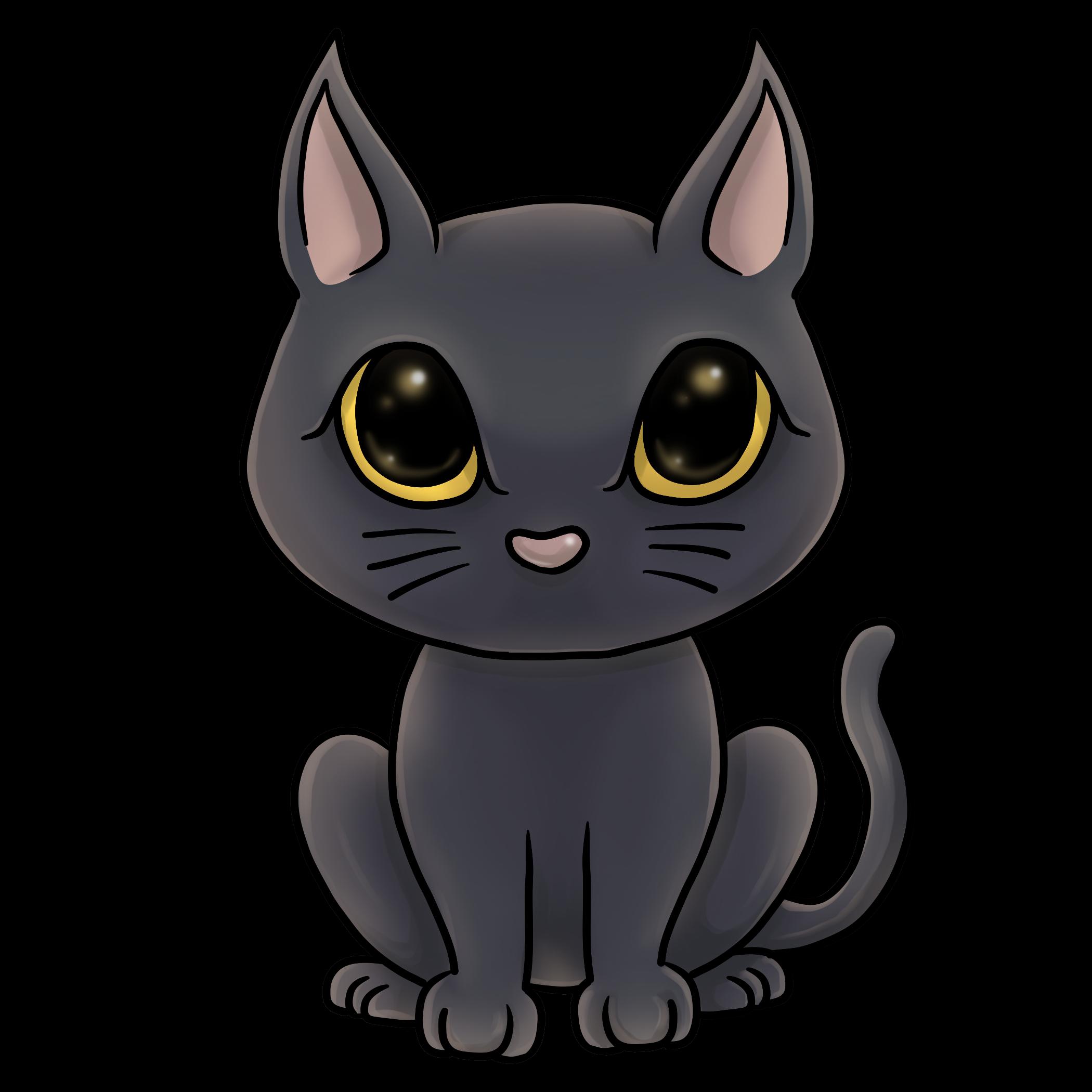 シンプルな黒猫のイラスト